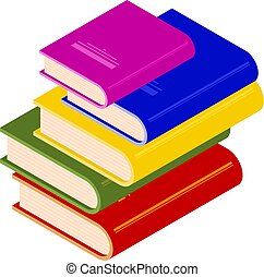 Pile of multicolored books in isometric style. Vector illustration of trend style.