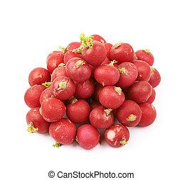 Pile of multiple radishes isolated