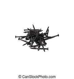 Pile of nails isolated over white background