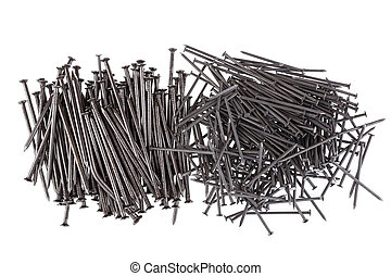 Pile of nails on a white background