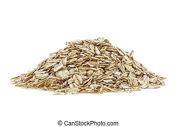 Pile of oat flakes isolated on a white background