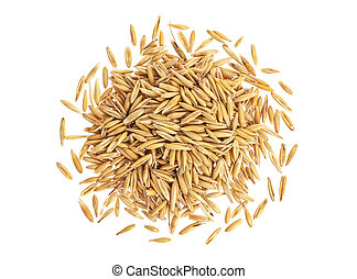 Pile of oat grains isolated on white background, top view