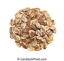 Pile of oat rye flakes isolated on white background, top view