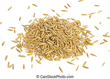 Pile of oat seeds isolated on white background, top view