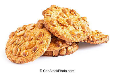 Pile of oatmeal cookies with nuts