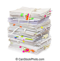 Pile of official papers with color stickers