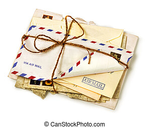 Pile of old airmail letters
