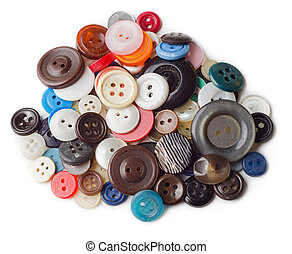 Pile of old and used clothes buttons
