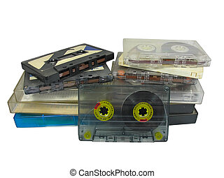 pile of old audio cassetes isolated over white