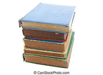 Pile of old books isolated on white background