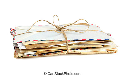 Pile of old envelopes isolated on white background