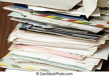 Pile of old letters, stack of vintage mails and envelopes