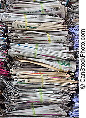 Pile of old paper for recycling