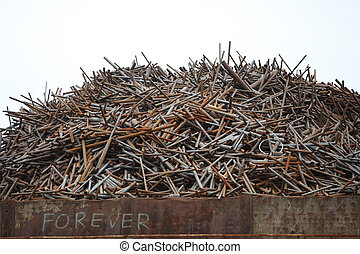Pile of old rusty metal