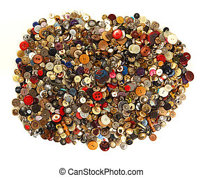 Pile of old sewing buttons