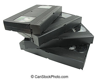 pile of old video cassetes isolated over white