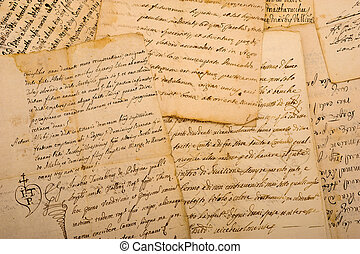 manuscripts - Pile of old vintage manuscripts