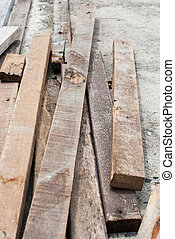 Pile of old wooden for recycling