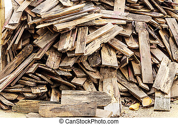 Pile of old wooden roof