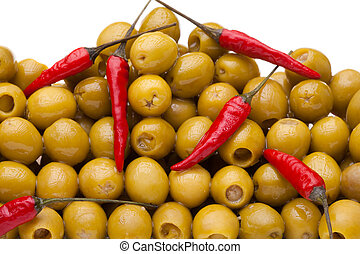 Pile of olives with red chili pepper