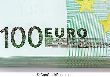 Pile of one hundred euro banknotes