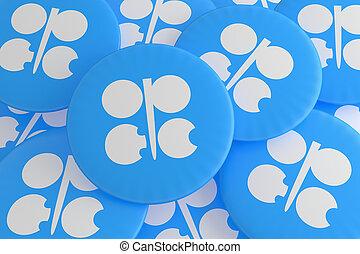 Pile of OPEC Flag Badges, 3d illustration