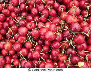 Pile of Organic Cherries