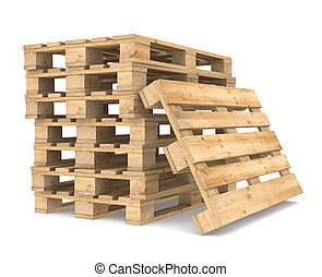 Pile of Pallets. White Backgound. CEN/EURO Standard. Part of...
