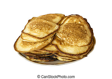 pile of pancakes on a plate isolated on white