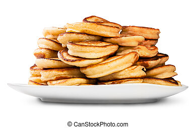 Pile Of Pancakes On A White Plate