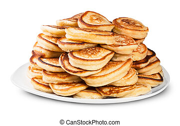 Pile Of Pancakes On A White Plate Rotated