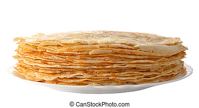 pile of pancakes on the plate (isolated object)