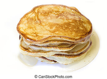 Pile of pancakes with honey