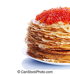 Pile of pancakes with red caviar