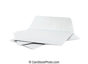 Pile of paper envelopes isolated