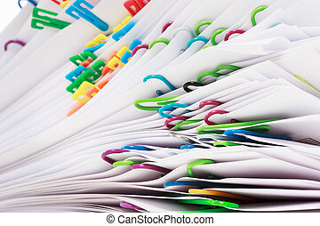 Pile of paper with clips - Pile of paper with colorful clips