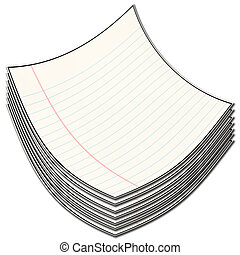 pile of papers - illustration of a pile of lined papers