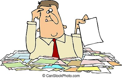 This illustration depicts a man chest deep in paperwork.