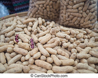 Pile of peanuts for sale in the market