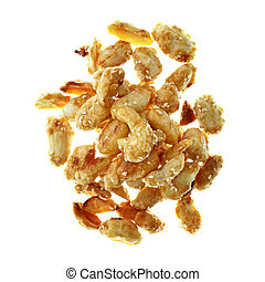 pile of peanuts isolated on white background