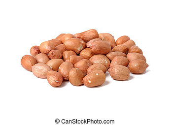 pile of peanuts on white background