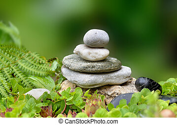 pile of pebbles  in a zen rock  garden