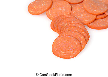 pile of pepperoni on white