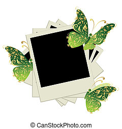 Pile of photos, insert your pictures into frames, butterfly...