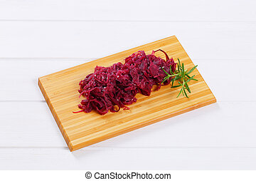 pickled red cabbage - pile of pickled red cabbage on wooden ...