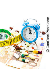 Pile of pills with banknotes, clock