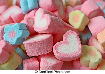 Pile of Pink and White Heart Shaped and Pastel Color Flower Shaped Marshmallow Candies