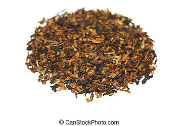 Pile of pipe tobacco isolated on white