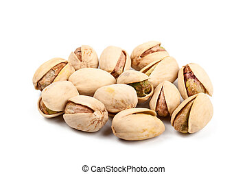 Pile of pistachio nuts isolated