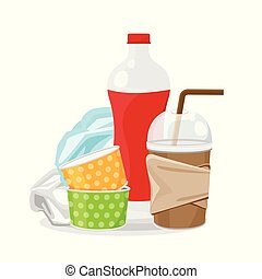 pile of plastic waste dump isolated on white background, plastic bottle garbage waste, plastic waste glass and paper cup garbage, illustration for garbage pollution